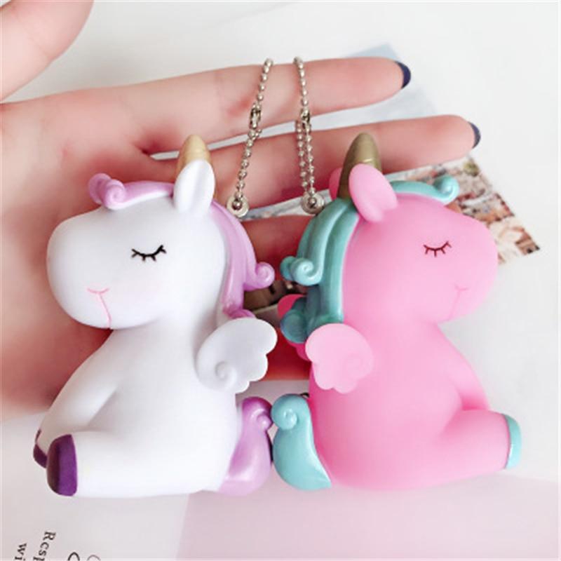 Fancy&Fantasy Rainbow PVC Animal Unicorn Keychain For Men Women Bag Ornament Phone Key Chain Porte Clef Keyring Bag Decoration