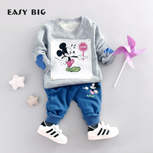 EASY BIG 2017 Spring Unisex Children's Sets 100% Cottons Boys Girls Cute Mickey Pants+T-shirts Kids Top Clothes Sets CC0039