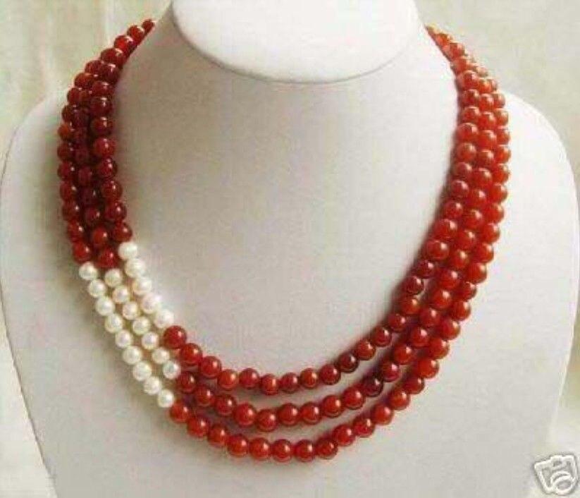 Thời trang mới miễn phí vận chuyển 3 hàng 8 mét red stone jasper ngọc chalcedony white pearl vòng hạt vòng cổ trang sức 17-19 inch BV24