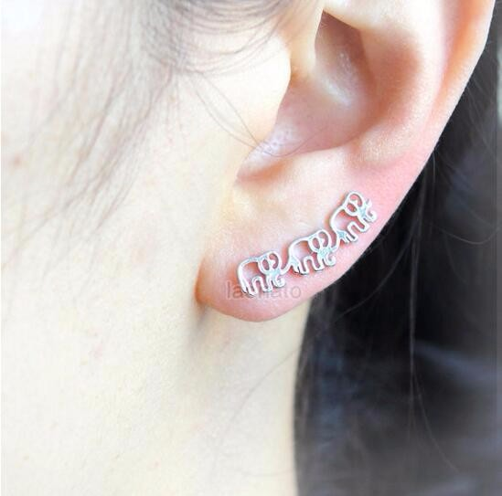 Gold And Silver Elephant Earrings