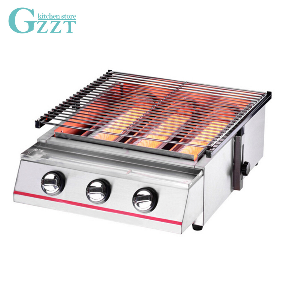 Household Commercial Large-size Stainless Steel 3 Burner Gas BBQ Grill Glass Shield or Steel Shield Grill Size 450*425mm