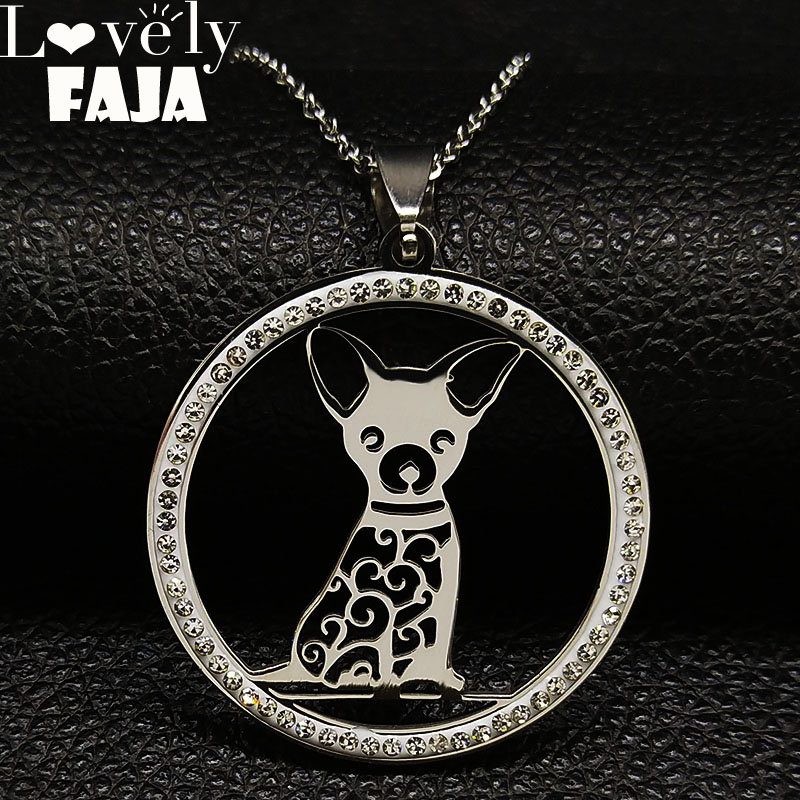 2018 Chihuahua Crystal Stainless Steel Chain Necklace for Women Silver Color Statement Necklace Jewelry collier femme K77496B