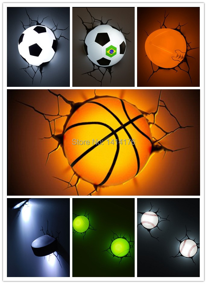 Hot sell sports series 2014 brazil world cup football 3d wall lamp hot sell sports series 2014 brazil world cup football 3d wall lamp amazing room decoration light lampada de parede xmas gift in night lights from lights mozeypictures Images