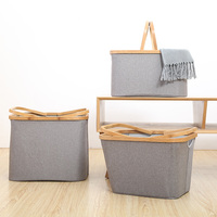 Bamboo Large Fabric Storage Basket Organizer Collapsible Cube Basket Foldable Dirty Clothes Container Box For Closet Shelves