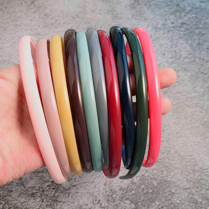 Women Girls Solid Candy Colors Thin Plain Hairbands Personality Plastic Headbands Lovely Simple Basic Hair Holder Headwear