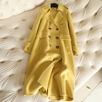 2018 New Autumn Cashmere Coat Women's Long Alpaca Wool Coat V neck Slim Double Breasted Coats Fashion Overcoat Yellow Coats Lady