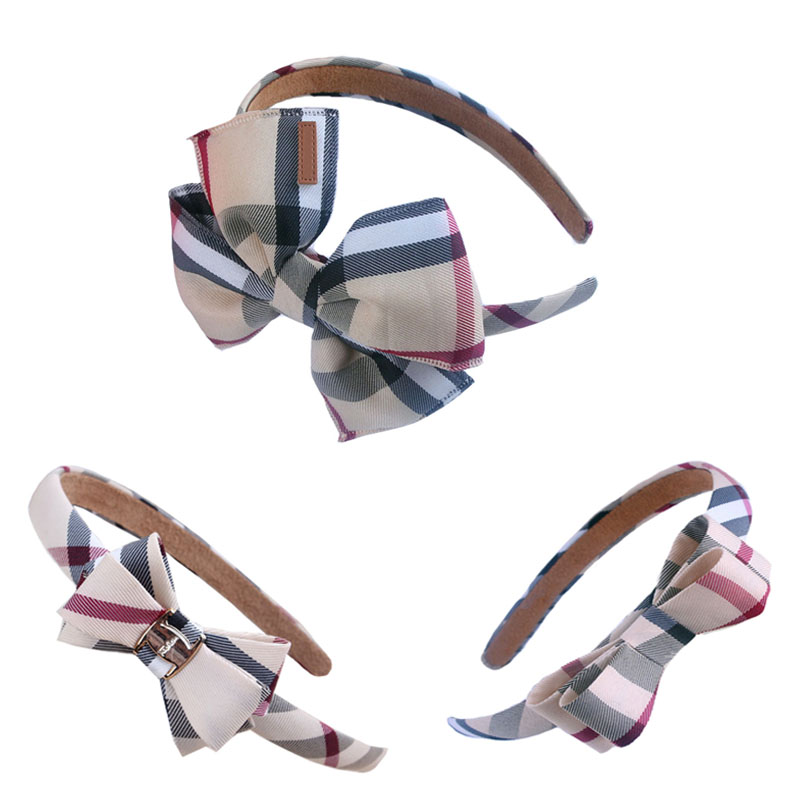 High Quality Hair Clips Plaid Fabric Bows