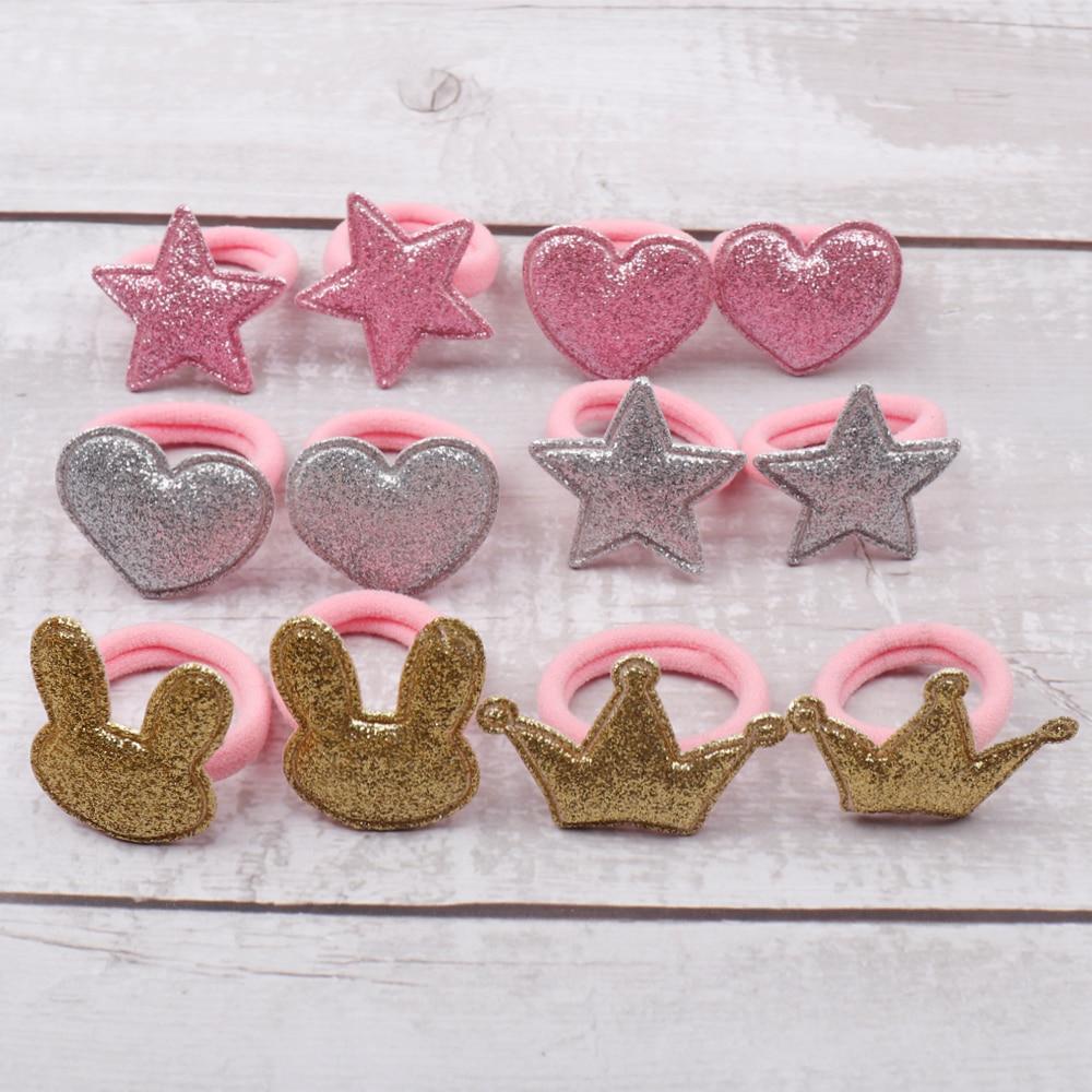 12Pcs/Lot Glitter Patch Hair Bands Mini Kids Hair Ties Pink Scrunchies Gum For Girls Hair Rope Headwear Hair Accessories