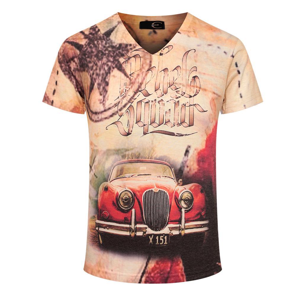Design shirt v neck - Retro Car Printed T Shirt 2017 Men S Tee Shirt Man Short Sleeve Pullovers Designed M 3xl Undershirt V Neck Fashion Pattern