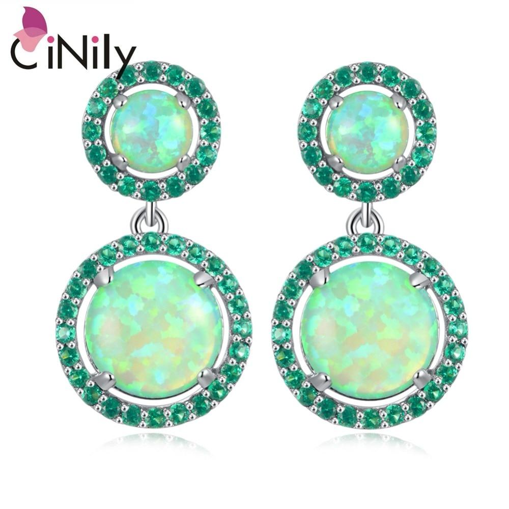 CiNily Created Green Fire Opal Green Zircon Silver Plated for Women Jewelry Wedding Gift Stud Earrings 1 1/8