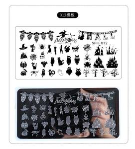 Image 2 - Штамповочные пластины для ногтей на Хэллоуин, Рождество, штамп для ногтей, изображение лака для ногтей, изображение для ногтевого дизайна 6,2*12,5 штамп Konad штампы маникюрные шаблон