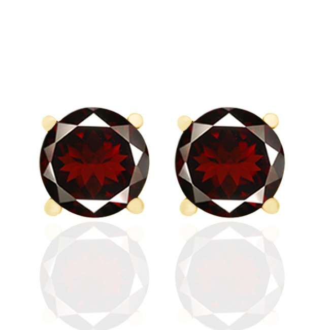 1.80 Ct Round Cut Garnet 18K Yellow Gold Over Sterling Silver Stud Earrings все цены