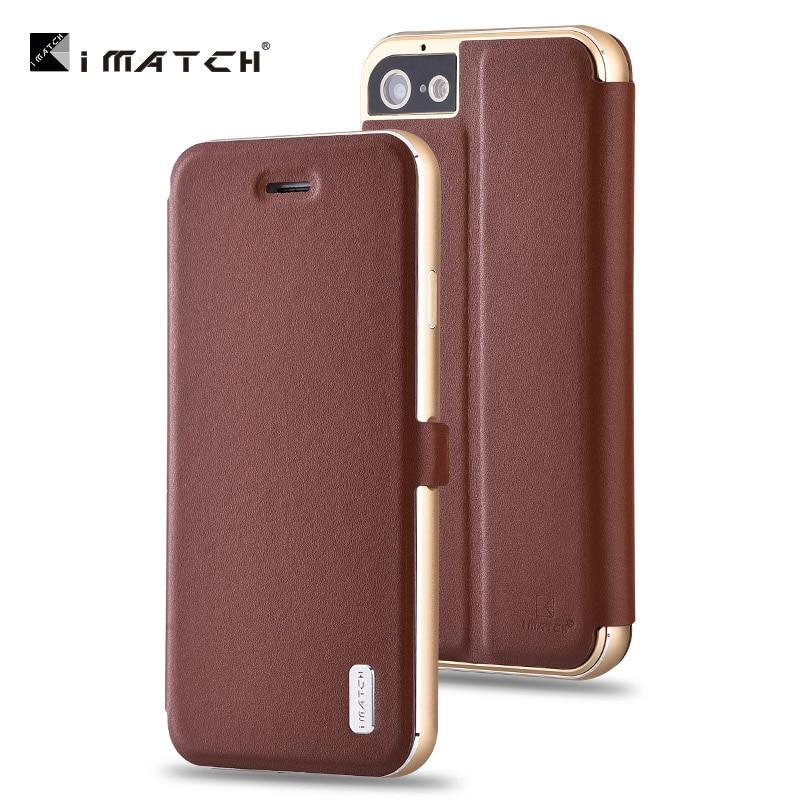 Original iMatch Genuine Leather Magnetic Flip Cover For Apple iPhone 7 Plus Aluminum Metal Frame Case