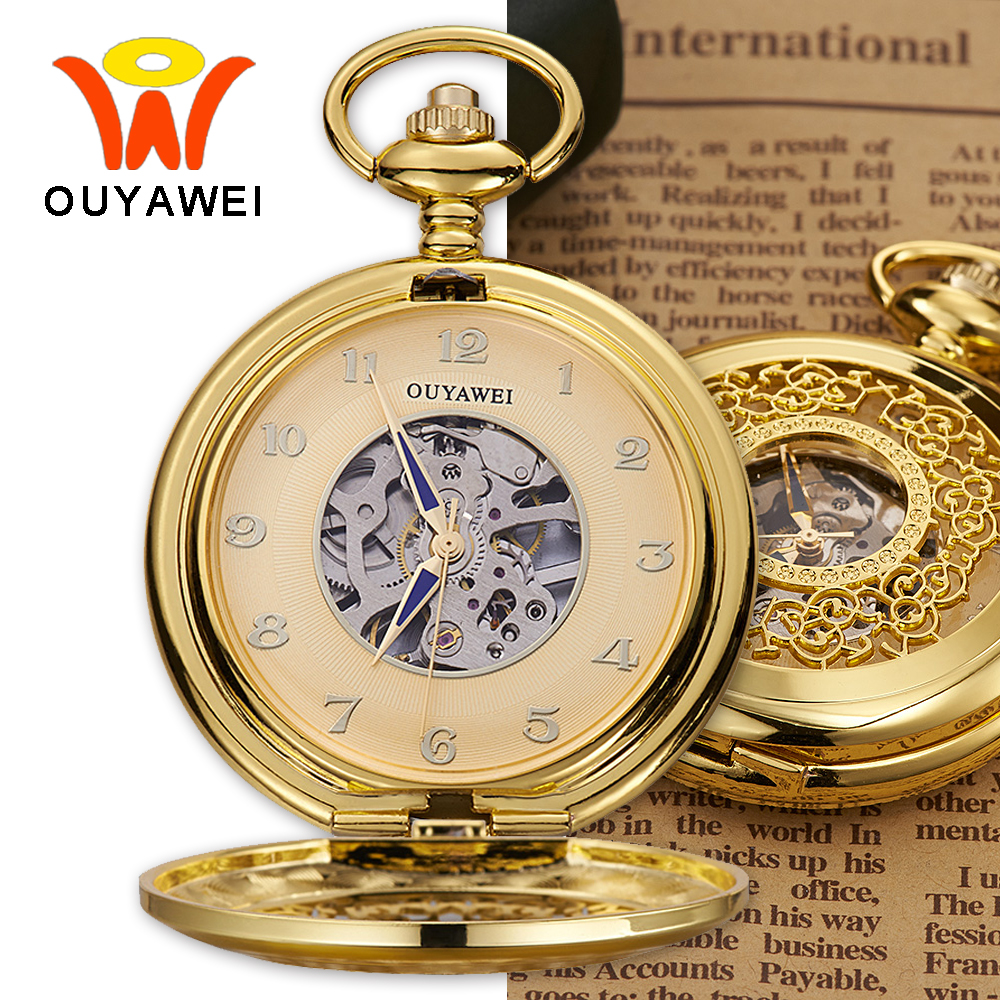 Ouyawei Vintage Skeleton Mechanical Pocket Watch With Chain Men Retro Blue Hands Hand Wind Clock Necklace Pocket & Fob Watches