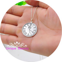 1 Disc Time Clock Memerial Pendant Necklace Sterling Silver Stamp Time Monogram Round Pendent Customized Necklace