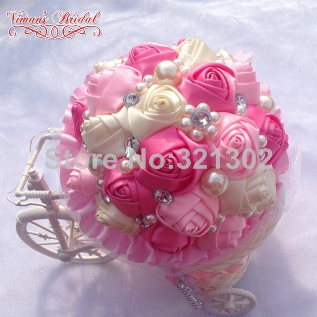 European And American Brides Holding Flowers Wedding Flowers Ornament Pearl Ribbon Wedding Bouquet De Novia Bridal Bouquets YJ10