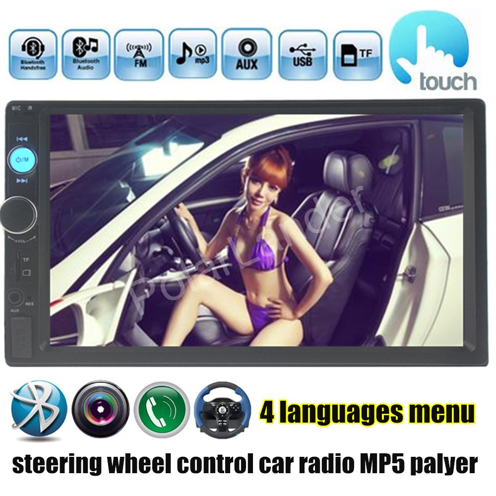 4 languages 7 inch steerign wheel control Bluetooth Car Stereo Radio MP5 MP4 Player 2 DIN HD In Dash Touch Screen FM/USB/TF/AUX