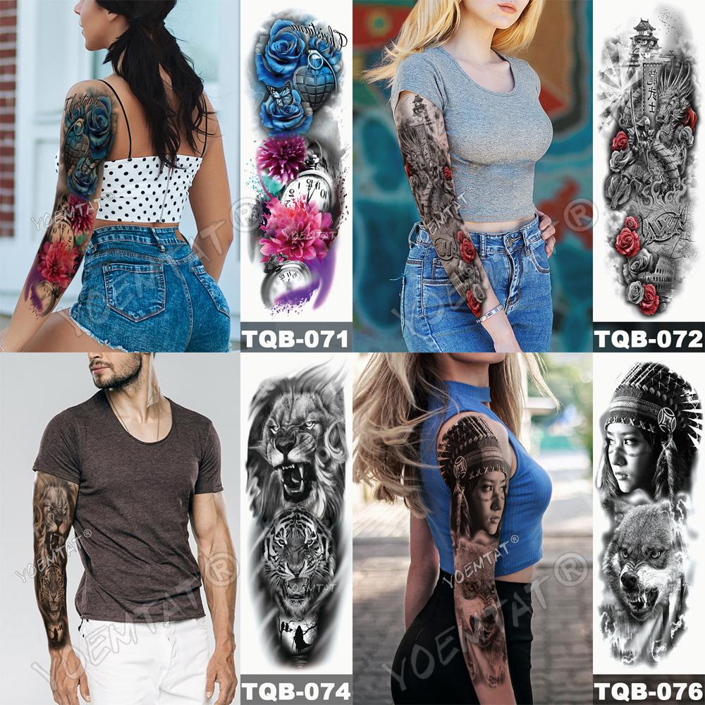Tatuaje para brazo impermeable cráneo completo 8