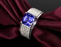 2 carat tanzanite 925 srebro pierścionek zaręczynowy ślubne popularne sapphire człowiek się diamond rings dla mężczyzn i kobiet
