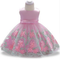 Flower Girls Wedding Dress Baby Girls Christening Cake Dresses For Party Occasion Kids 1 Year Baby