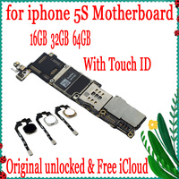 Full unlocked for iphone 5S Logic board,100% Original for iphone 5S Mainboard with Touch ID / Without Touch ID 16GB 32GB 64GB
