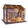 High Quality Hoomeda DIY Wood Dollhouse Miniature Doll Toys With LED Furniture Cover Sushi Bar Japanese Style Home Decor Gift