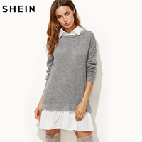 SHEIN Contrast Collar And Hem 2 In 1 Sweatshirt Dress Color Block Long Sleeve Casual Dress