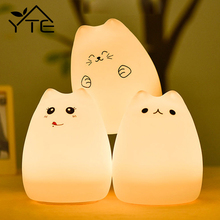 Popular Cartoon Cat LED 7 Colors Night Light Cute Animal Baby Kids Lamp Soft Silicone Table Lamp luminaria With USB Rechargeable