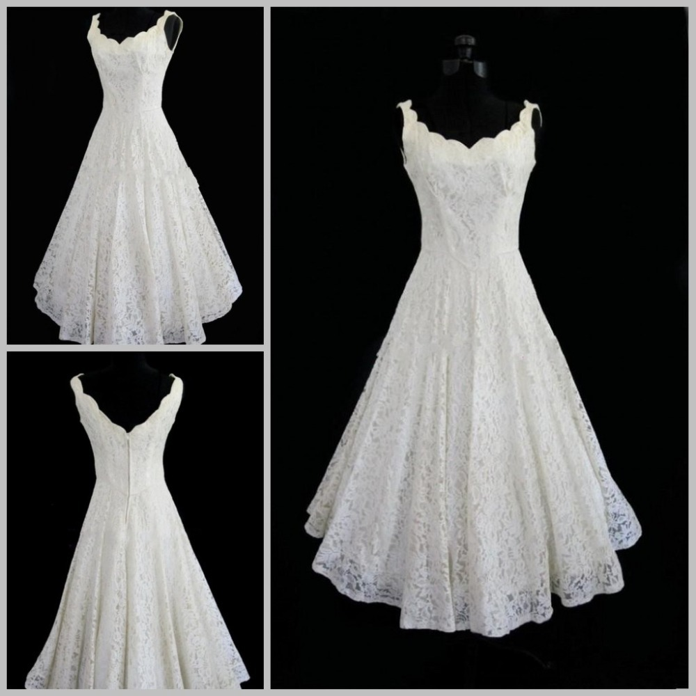 Vintage Lace Tea Length Beach Wedding Dress Short Sleeves: Plus Size New 2014 Lace V Neck Sexy Tea Length Short Beach