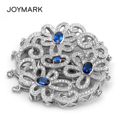 925 Sterling Silver Micro Pave Zircon 4 Strands Round Flower Garland Pendant Connector Clasps For Pearl Necklaces SC-CZ024