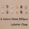 YAGE 10MM 500PCS 6 Colors Zinc Alloy Lobster Clasp.Gold,Bronze,Rhodium,Rose Gold,925 silver Jewelry Findings for jewelry making