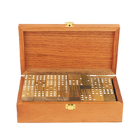 High Quality Solid Wood Box Domino Game Pai Gow DOUBLE 6/9/12 Dominos Board Game Puzzles Green Sandalwood Dominoes Entertainment