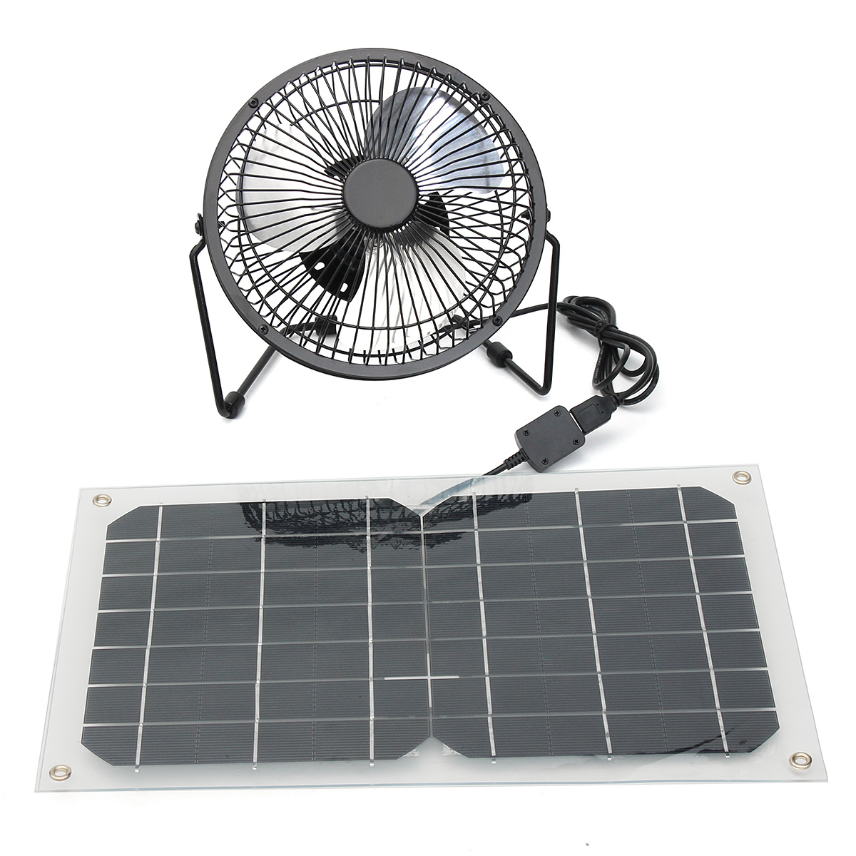 6 inch Black Solar Panel Powered USB 10W Fan Cooling Ventilation Car Cooling Fan for Outdoor Traveling Fishing Home Office