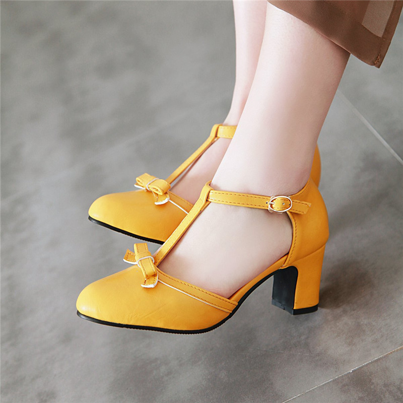 YMECHIC 2019 Fashion Lolita Block High Heel Pumps Women Shoes Yellow Blue Cute Bowtie Party Dress Heels Shoes Woman Plus Size 43