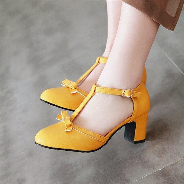 YMECHIC 2019 moda Lolita blok czółenka na wysokim obcasie kobiet buty żółty niebieski śliczna muszka Party Dress obcasy buty kobieta Plus rozmiar 43