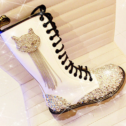 Free shipping Round toe genuine leather handmade rhinestone gem tassel cow muscle boots high women's belt martin boots