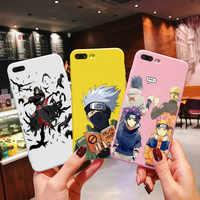 Moda Alívio Caso Anime Naruto Para iPhone 7 8 X XR Plus 6 6 s Plus Capa TPU Macio Dos desenhos Animados Caso de Telefone Coque