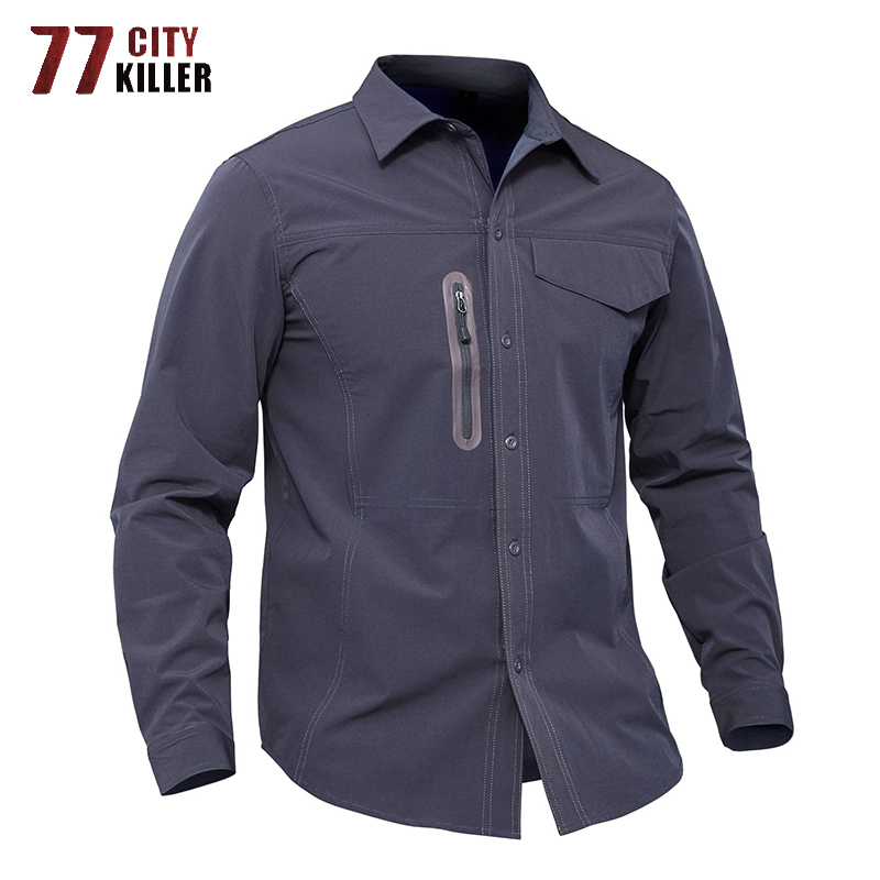 77City Killer Quick Drying Summer Shirt Men Outwear Tactical Combat Shirts Men Military Long Sleeve Shirts Male Chemise Homme
