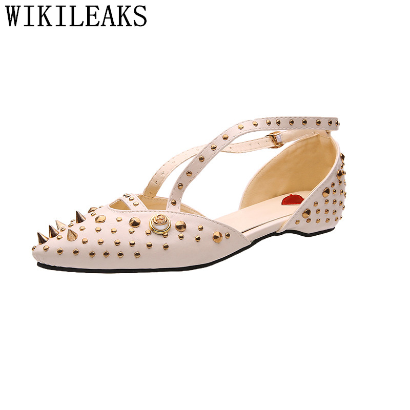 luxury brand Pointed Toe flats women zapatillas mujer casual summer women shoes 2017 designer leather rivets shoes for women fashion pointed toe women shoes solid patent pu brand shoes women flats summer style ballet princess shoes for casual crystal