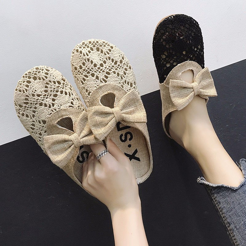 2018 female summer new round head mesh flat shoes retro simple light comfortable comfortable slippers women.