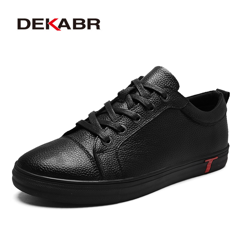 DEKABR Brand Genuine Leather Men Casual Shoes Spring Summer 2018 New Arrival Breathable Soft Men's Handmade Flats Men Shoes the spring and summer men casual shoes men leather lace shoes soled breathable sneaker lightweight british black shoes men