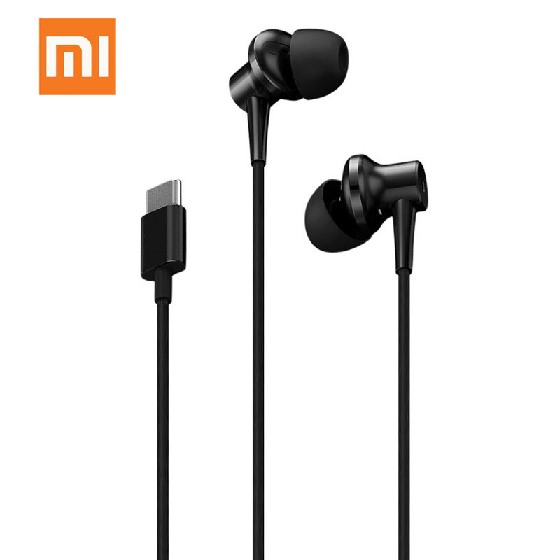 Original Xiaomi Noise Cancellation In-Ear Earphones USB Type-C Version With Mic Wired Music Earphone For Xiaomi6 MIX Note Phone remax rm502 wired clear stereo earphones with hd microphone angle in ear earphone noise isolating earhuds for mp3 iphone xiaomi