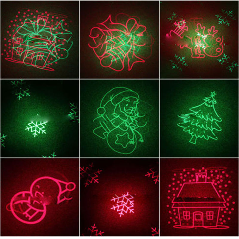 Remote Control Christmas Tree Red Green 8 Xmas Patterns Laser Light Outdoor Waterproof Laser Projection Lamp