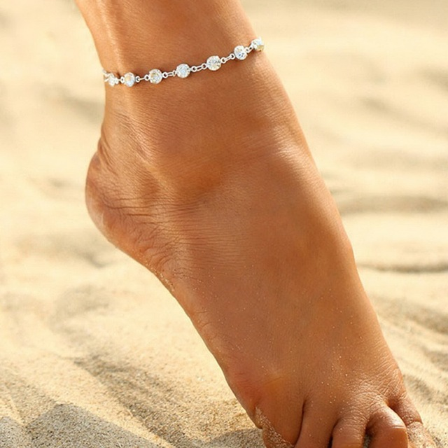 Women Trendy Crystal Anklets Foot Bracelet Stainless Steel Barefoot Anklet Hot Summer Beach Foot Jewelry