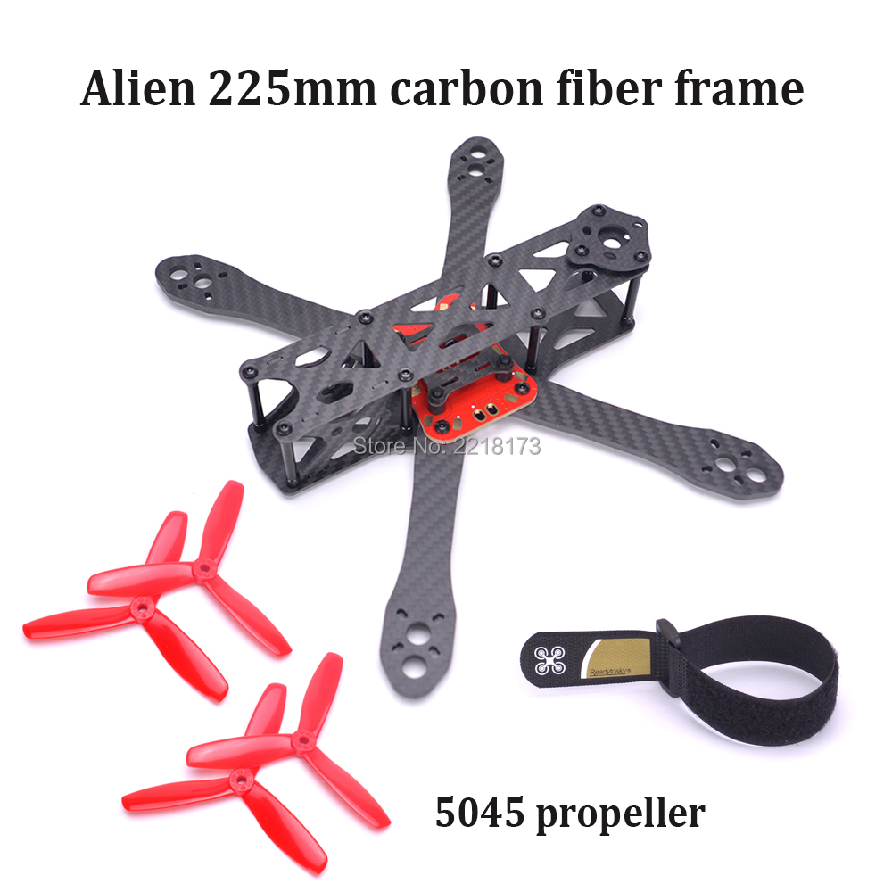 Alien 225 225mm FPV Pure Carbon Fiber Quadcopter Frame with 4mm arm DIY Cross Racing Mini Drone Better than QAV-R 220mm eyas 55 7mm 8mm pure carbon fiber brush coreless quadcopter frame for diy fpv micro indoor mini drone with camera