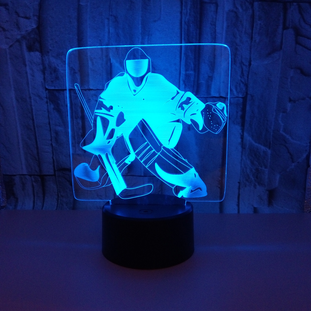 Ice Hockey 3D Night Light Acrylic USB Colorful Mood Lights Remote Touch Atmosphere Lamp Mood light Table 3D Illusion lamp цена