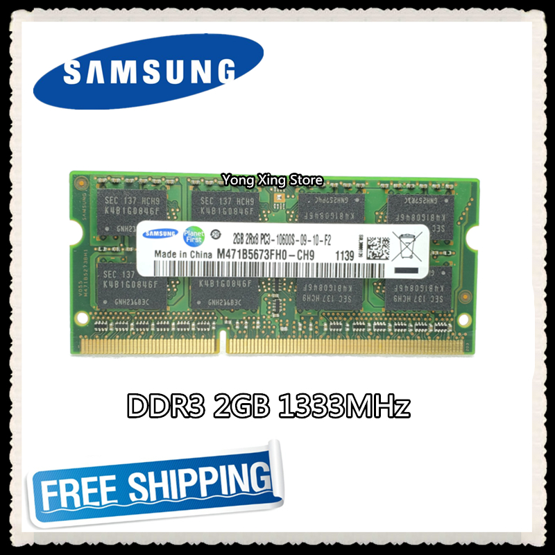 Notebook speicher Samsung DDR3 2 GB 1333 MHz PC3-10600S <font><b>DDR</b></font> <font><b>3</b></font> 2G <font><b>Laptop</b></font> <font><b>RAM</b></font> Original 204PIN SODIMM image