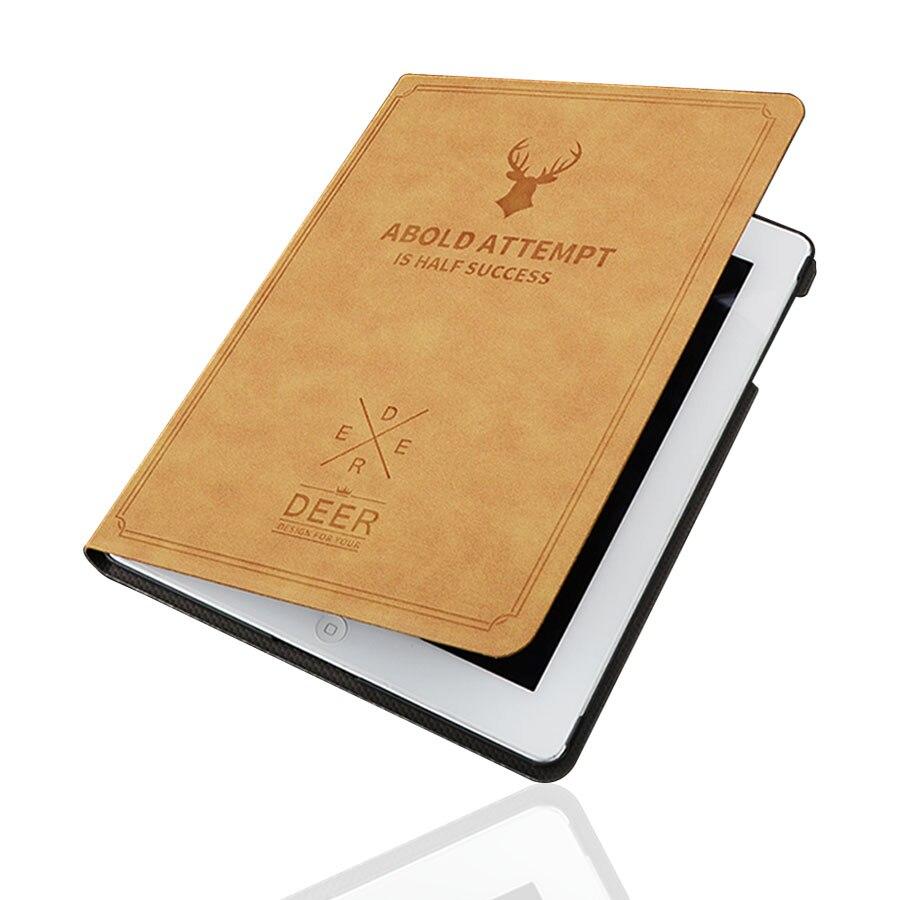 Retro Printed Deer Funda for iPad 2 3 4 Case Kickstand Flip PU Leather Cover for iPad 2 iPad 3 iPad 4 Case 9.7'' Luxury Case