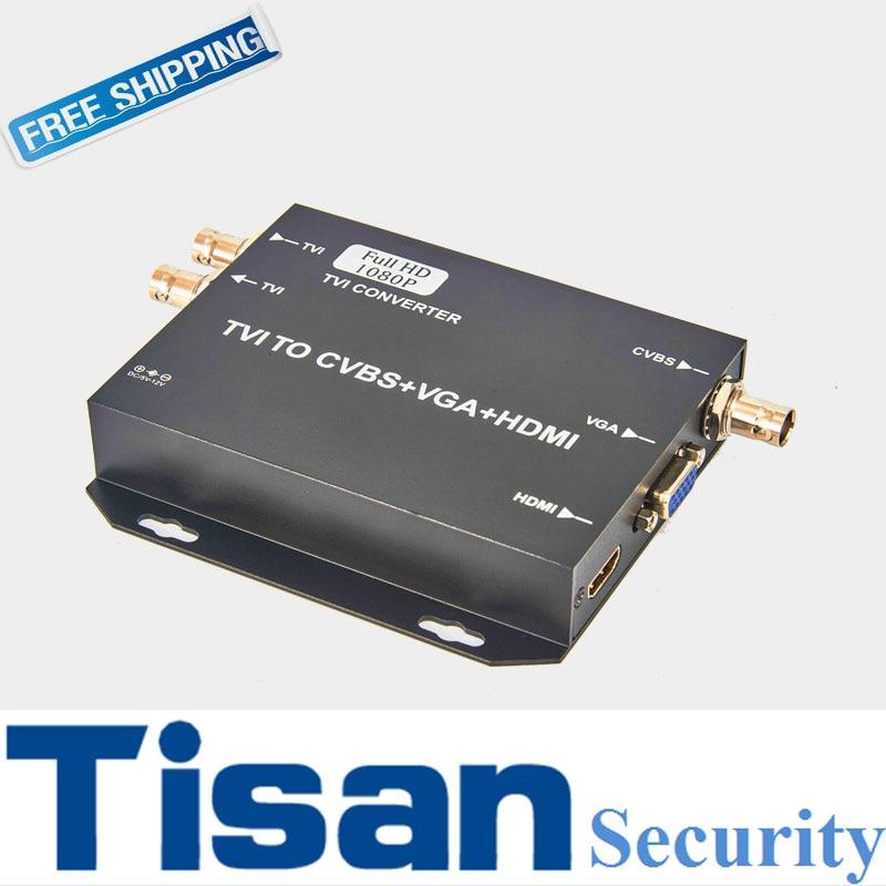 New 1080P TVI TO HDMI VGA CVBS Video Converter Support TVI loop out vga to hdmi hd 1080p video converter box black