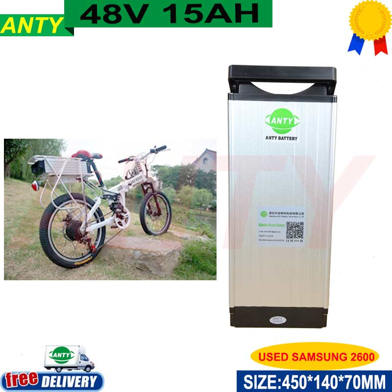 eBike Lithium Battery 48V 15ah 750w Power Scooter Battery 48v use samsung 2600 cells for Kit Electric Bike with 2A Charger,BMS 48v 15ah li ion ebike battery 750w 48v 15ah bottle battery pack use samsung 3000mah cell 20a bms with 2a charger